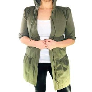 Jackets & Blazers - Army green tiered hooded lined jacket